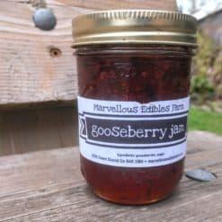 Mason jar of gooseberry jam
