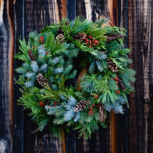 full evergreen grapevine wreath